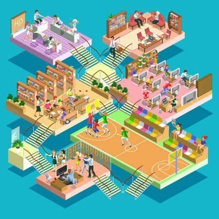 sports training: Flat 3d isometric multistory university. Education, staff training, learning, knowledge, back to school, sports ground, library, classroom, study computer science and chemistry, teacher, students.