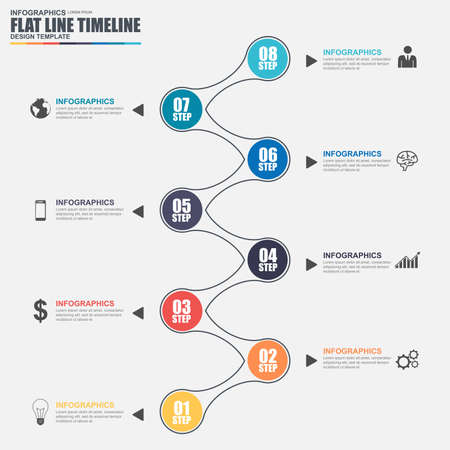 chronological: Thin line flat timeline infographic elements vector template. Can be used for workflow, business concept with 8 options, parts, steps or processes, number options, diagram, chart, data visualization.