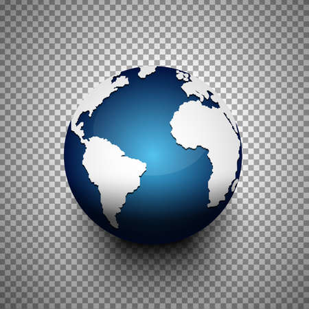 Realistic 3D globe icon of the world map on transparent background.