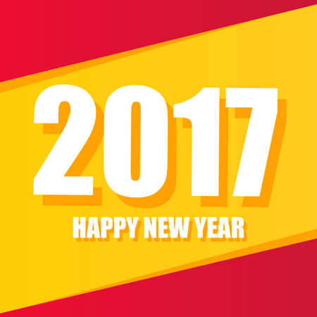 happy new year text: Happy new year 2017 Text Design Illustration
