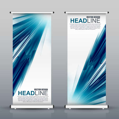 Roll up business brochure flyer banner design vertical template vector, cover presentation abstract wave background, modern publication x-banner and flag-banner, layout in rectangle size. Illustration