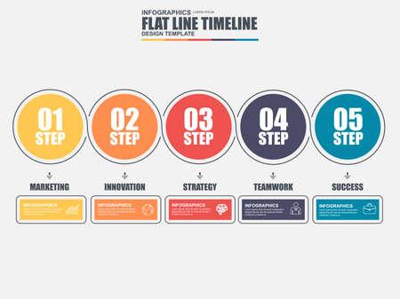 Dünne Linie flache Timeline Infografik-Elemente Vektor-Vorlage. Kann für Workflow, Business-Konzept mit fünf Optionen, Teile, Schritte oder Prozesse, die Anzahl Optionen, Diagramm, Diagramm, Datenvisualisierung verwendet werden.