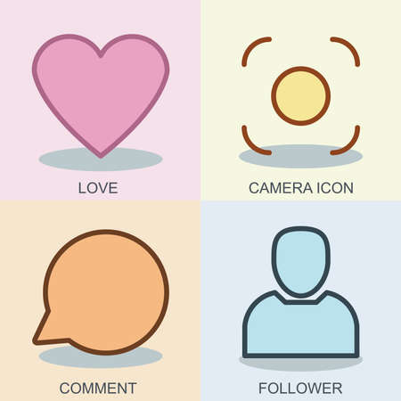 design media love: Thin line flat conceptual web icon vector design template. Set for your social media app design project. Contains heart, speech bubble, photo camera, avatar. Can be used love, comment, follower, logo.