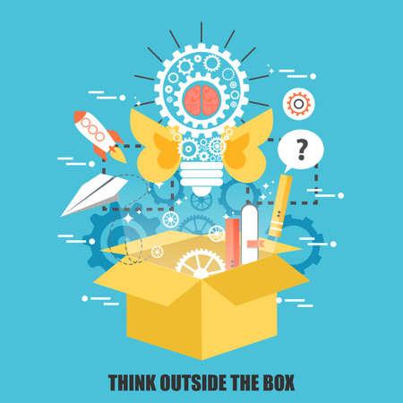 Concetto piatto di pensare al di fuori della scatola, idea creativa. Può essere utilizzato per poster, banner, rivista, web design. Migliore soluzione per i progettisti grafici. Illustrazione vettoriale.