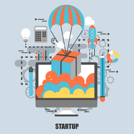 printed material: Flat concept of business project startup process, from idea through planning and strategy, marketing, finance, to realization and success. Best solution for graphic designers. Vector illustration.
