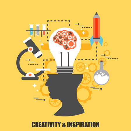 web solution: Flat concept of creativity and inspiration. Can be used for poster, banner, magazine, web design. Best solution for graphic designers. Vector illustration.