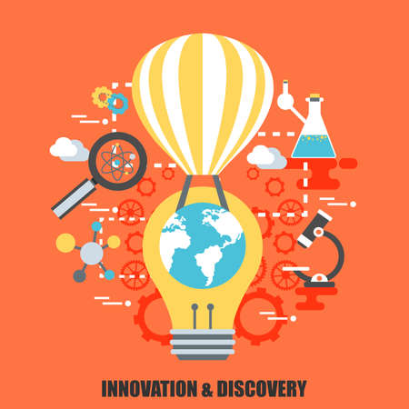 web solution: Flat concept of innovation and discovery. Can bee used for poster, banner, magazine, web design. Best solution for graphic designers. Vector illustration. Illustration