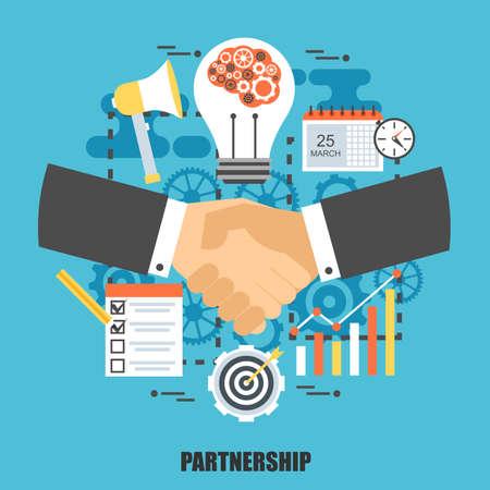 concepto plana de acuerdo empresario apretón de manos. Puede ser utilizado para reuniones de negocios, trabajo en equipo, el liderazgo y la asociación, el diseño web. La mejor solución para los diseñadores gráficos. Ilustración del vector.