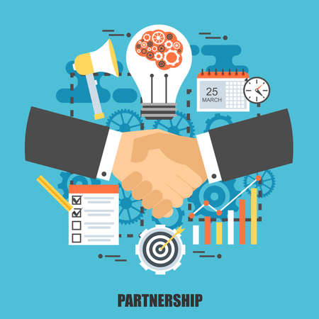 web solution: Flat concept of handshake businessman agreement. Can be used for business meeting, teamwork, leadership and partnership, web design. Best solution for graphic designers. Vector illustration.