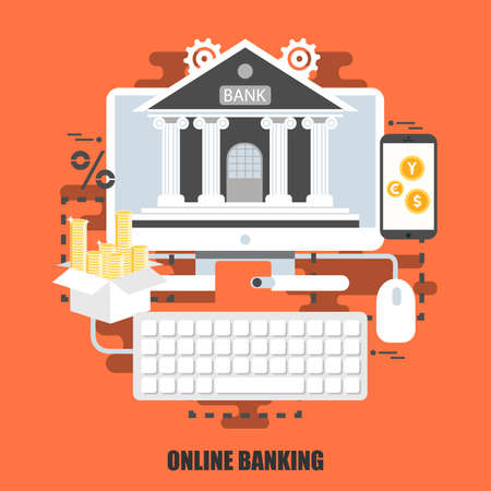 internet business: Flat concept of online banking. Can be used for business process, e-commerce, e-banking, internet resource, web design. Best solution for graphic designers. Vector illustration. Illustration