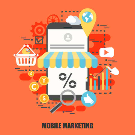 Flat concept of mobile marketing. Can be used for poster, banner, flyer, journal, magazine, web design. Best solution for graphic designers. Vector illustration.
