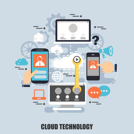 Flat concept of cloud data technology services, global connection, cloud computing. Can be used for poster, banner, magazine, web design. Best solution for graphic designers. Vector illustration.