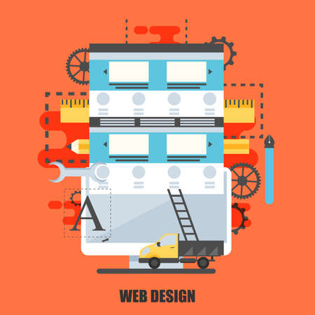 web solution: Flat concept of web design studio. Can be used for poster, banner, flyer, journal, magazine, web design. Best solution for graphic designers. Vector illustration.