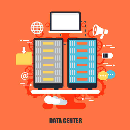 web solution: Flat concept of data center, cloud data technology services, cloud computing. Can be used for poster, banner, magazine, web design. Best solution for graphic designers. Vector illustration.