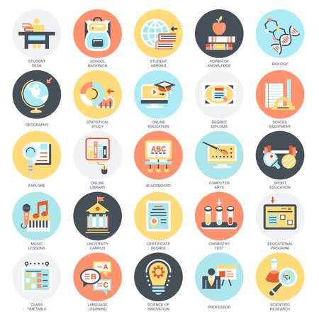 Flat conceptual icons pack of distance school education training and study online. Concepts for website and graphic design. Mobile and print media. Isolated on white background. Illustration
