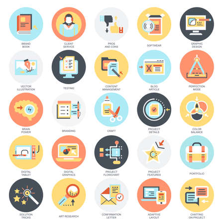 Flat conceptual icons pack of business content management, usability thinking. Concepts for website and graphic design. Mobile and print media. Isolated on white background.