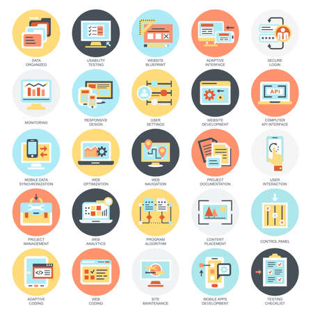 user icon: Flat conceptual icons pack of web design and development, web coding, app programming and customization. Concepts for website and graphic design. Mobile and print media. Isolated on white background.
