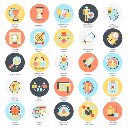 relationships: Flat conceptual icons pack of various mental features of human brain. Concepts for website and graphic design. Mobile and print media. Isolated on white background.