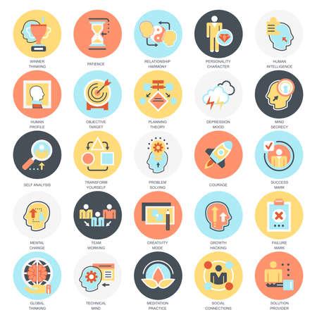 Płaski koncepcyjne ikony pack różnych funkcji psychicznych ludzkiego mózgu. Koncepcje dla strony internetowej i projektowania graficznego. Mobile i nośników druku. Pojedynczo na białym tle.