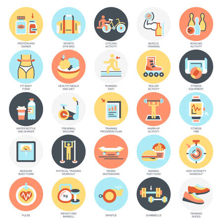 gainer: Flat conceptual icons pack of fitness recreation, sports diet. Concepts for website and graphic design. Mobile and print media. Isolated on white background. Illustration