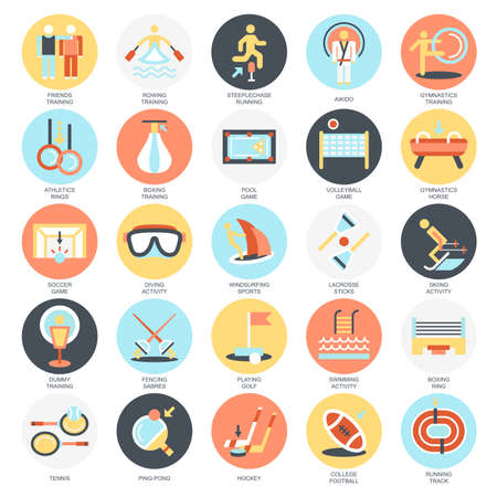 sports training: Flat conceptual icons pack of sports training disciplines, athletics practice. Concepts for website and graphic design. Mobile and print media. Isolated on white background.