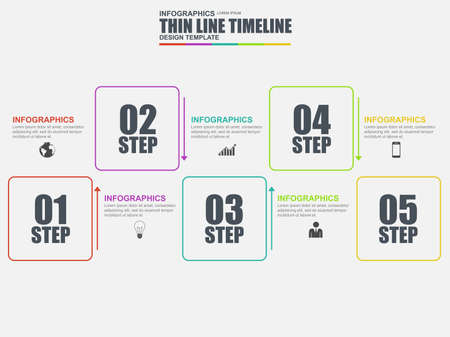 data line: Thin line flat minimal infographic elements vector template. Can be used for workflow, business concept with 5 options, parts, steps or processes, number options, diagram, chart, data visualization.