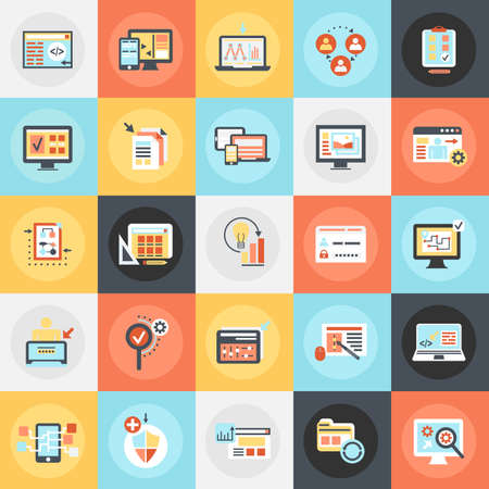 Flat conceptual icons pack of web design and development, web coding, app programming and customization. Concepts for website and graphic design. Mobile and print media.