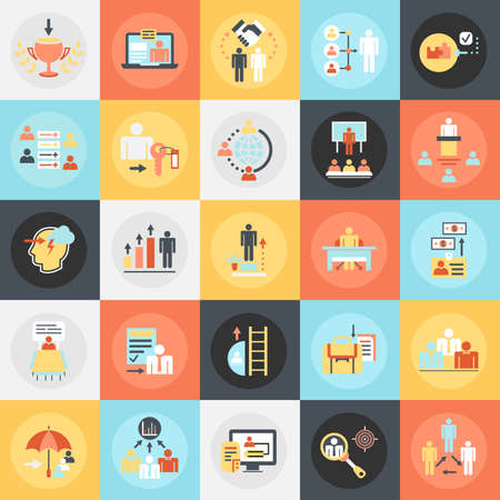 leadership training: Flat conceptual icons pack of corporate development, business leadership training and corporate career. Concepts for website and graphic design. Mobile and print media.