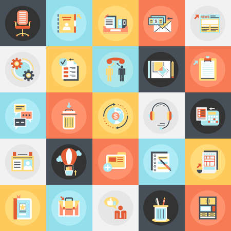 business equipment: Flat conceptual icons pack of business tools, office essential equipment. Concepts for website and graphic design. Mobile and print media. Illustration