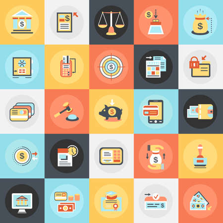 Flat conceptual icons pack of economics, banking and financial services, money savings. Concepts for website and graphic design. Mobile and print media.