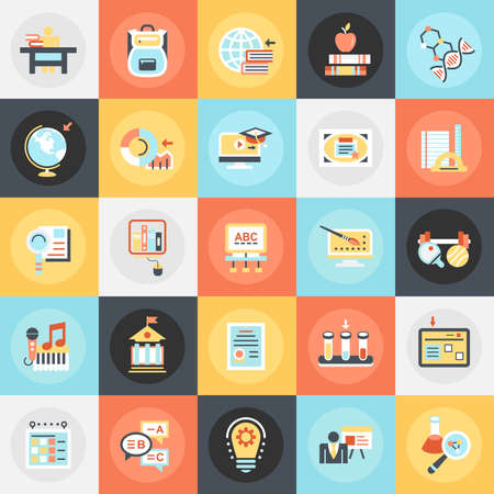 online education: Flat conceptual icons pack of distance school education training and study online. Concepts for website and graphic design. Mobile and print media. Illustration