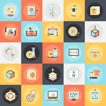 balanza de laboratorio: Piso iconos conceptuales paquete de impresión en 3D y tecnología de modelado. Conceptos para el sitio web y diseño gráfico. Móvil y medios impresos.
