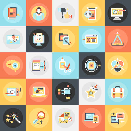 Flat conceptual icons pack of business content management, usability thinking. Concepts for website and graphic design. Mobile and print media.