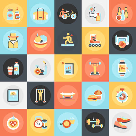 gainer: Flat conceptual icons pack of fitness recreation, sports diet. Concepts for website and graphic design. Mobile and print media.