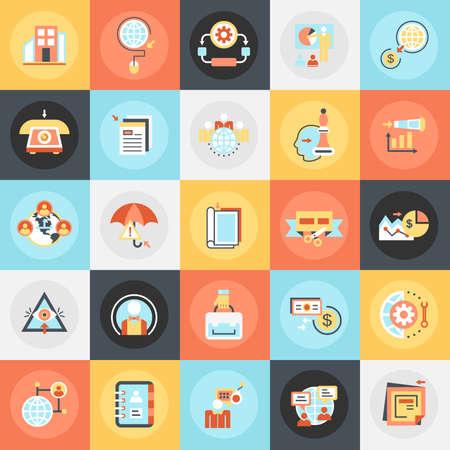 negocios internacionales: Piso iconos conceptuales paquete de organización global de negocios en todo el mundo y las operaciones. Conceptos para el sitio web y diseño gráfico. Móvil y medios impresos. Vectores