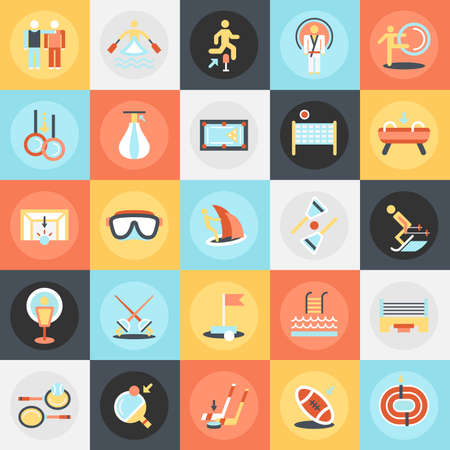 athletics: Flat conceptual icons pack of sports training disciplines, athletics practice. Concepts for website and graphic design. Mobile and print media.