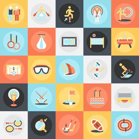 atletismo: Iconos conceptuales del paquete plano de disciplinas de entrenamiento deportivo, la práctica del atletismo. Conceptos para el sitio web y diseño gráfico. Móvil y medios impresos.