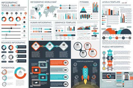 Bundle Infographic teamwork elements design template. Illustration