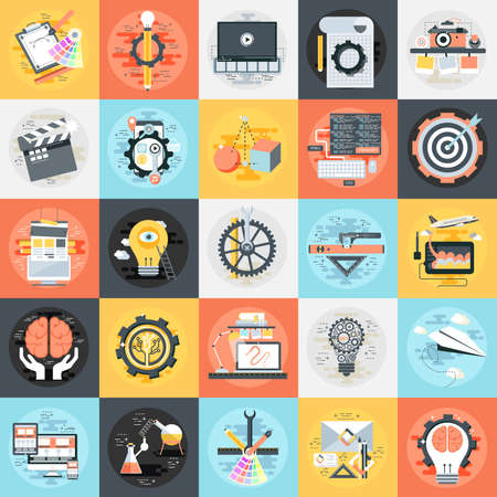 Flat conceptual icons set of creative process, design studio, app development service, 3d modeling, business company branding items and advertising elements. Flat icon concept for graphic designers.