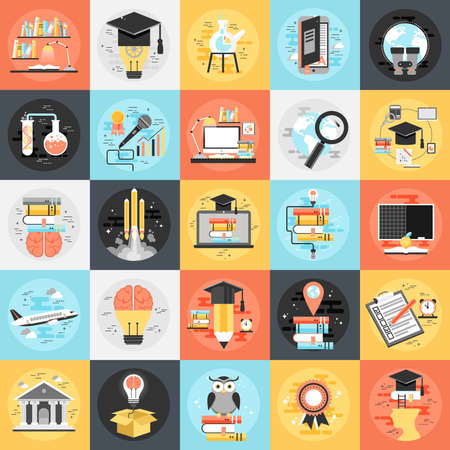 course development: Flat conceptual icons set online education, video tutorials, staff training, learning, knowledge, back to school, learn to think. Flat icon concept for website and graphic designers.