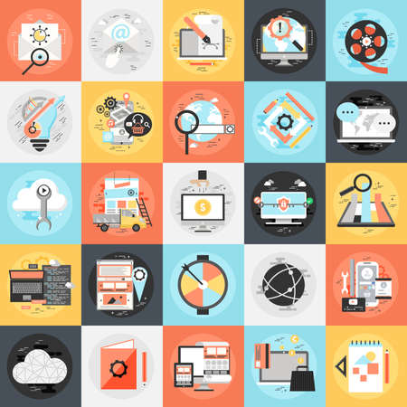 keywording: Flat conceptual icons set of search engine optimization tools for growth traffic, web seo. Flat icon concept for website and graphic designers. Mobile and print media. Illustration