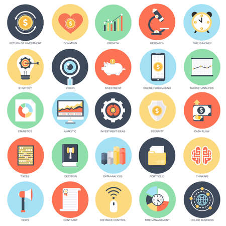 Flat conceptual icon set of analytics and investment, finance data analysis, business strategy economic development,financial growth. Pack flat icons concept for designers. Illustration