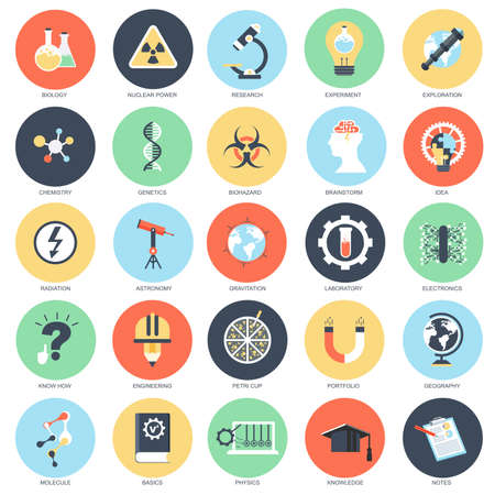 conceptual: Flat conceptual icon set of genetics lab research and science, laboratory experiment, chemistry biohazard. Pack flat icons concept for designers. Illustration