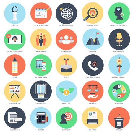 Piatto concettuale set di icone di gestione aziendale e di formazione business leader, l'acquisizione di competenze professionali. Confezione icone piane concetto per i progettisti. Vettoriali