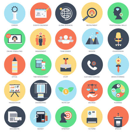 Plat conceptuel icône ensemble de la gestion d'entreprise et de la formation de chef d'entreprise, l'acquisition de compétences professionnelles. Emballez icônes plats concept pour les concepteurs. Vecteurs