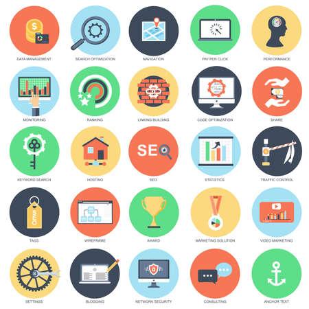 Flat icon conceptuel ensemble d'outils d'optimisation de moteur de recherche pour le trafic de croissance, web seo. Forme un concept d'icônes plates pour les graphistes et les graphistes. Médias mobiles et imprimés.