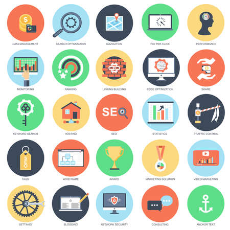 Flat conceptual icon set of search engine optimization tools for growth traffic, web seo. Pack flat icons concept for website and graphic designers. Mobile and print media. Illustration