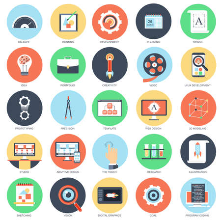 Flat conceptual icon set of web design and development. Pack flat icons concept for website and graphic designers. Mobile and print media.