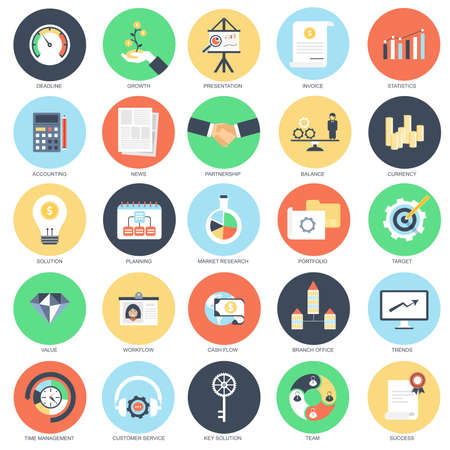 Flat conceptual icon set of economics, business workflow and finance growth. Pack flat icons concept for website and graphic designers. Mobile and print media. Illustration