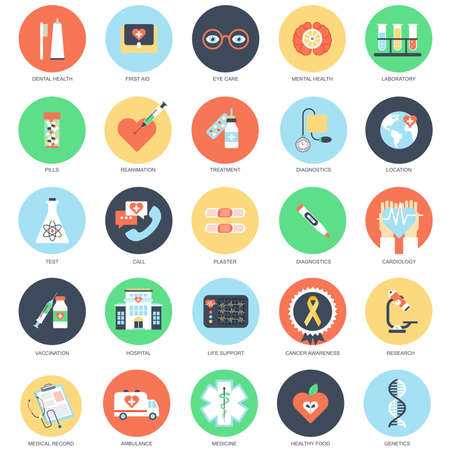 Flat conceptual icon set of healthcare and medicine, hospital services, laboratory analyzes, medical specialists, medical equipment. Pack flat icons concept for website and graphic designers. Stock Illustratie